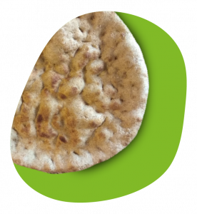 whole pizza crust in green oval