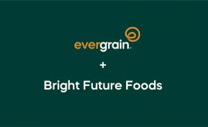 EverGrain logo and Bright Future Foods on green background
